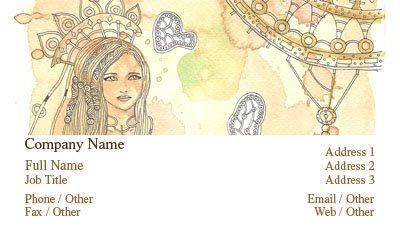 Fairytale Princess Water Color Business Card Template